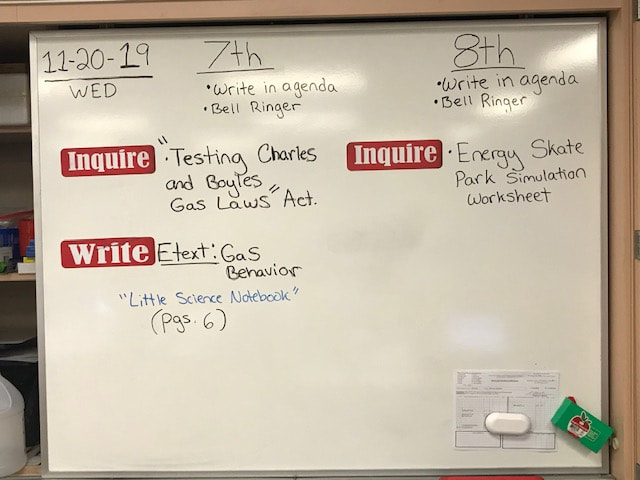 8th Grade Science PVMS - Daily Agendas